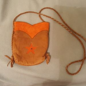 Leather and suede handmade in Texas cross body bag